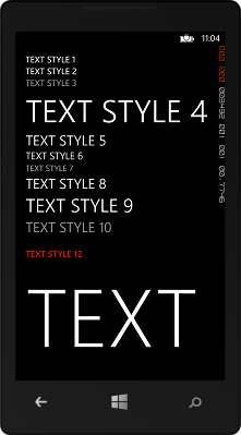 Text Styles Windows Phone 8 Application