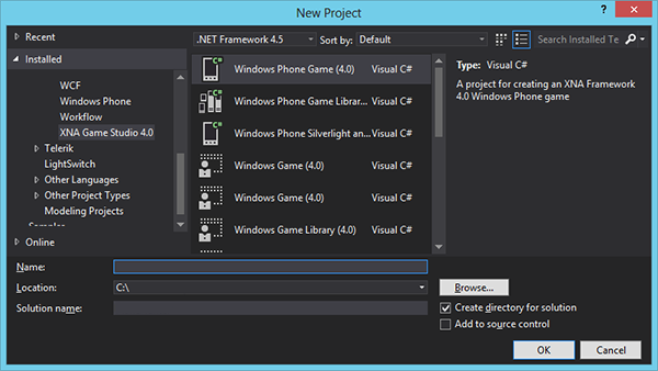 Windows Phone : XNA Game Project Template